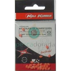 KALI KUNNAN Bolitas Blandas Fosforescentes 3x4 mm Rojas